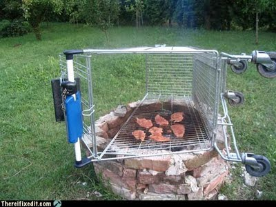 shopping cart grill Redneck Home Remodels