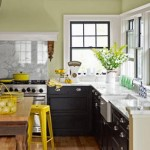 Kitchen color yellow red accents