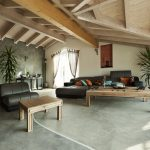 exposed roof beams living room