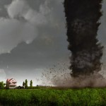 Farmhouse and tornado