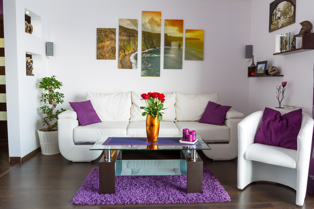 Balancing color schemes in your space Purple living room color schemes