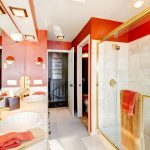 modern bathroom red accents