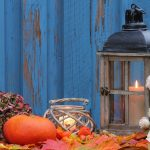 Autumn decor lantern pumpkin leaves flowers
