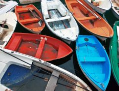 cluttered colorful boats