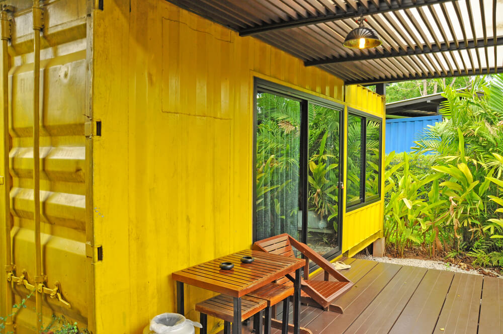 shipping container house deck
