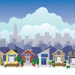 small home neighborhood city background illustration