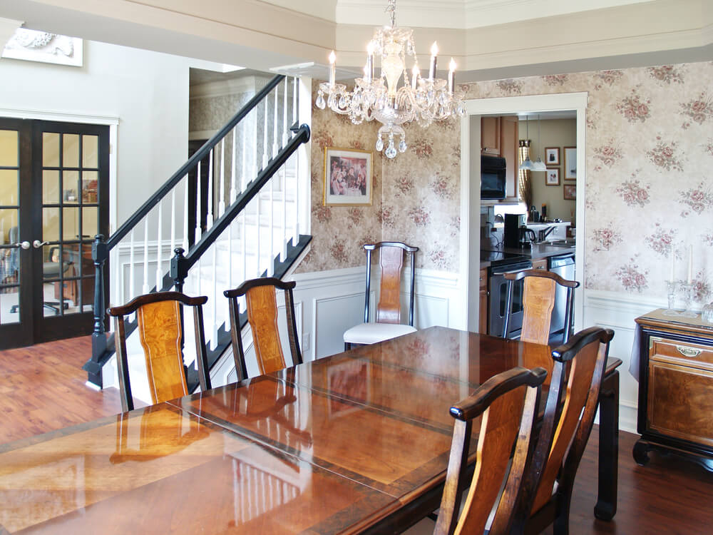 dining room wallpaper stairs french doors