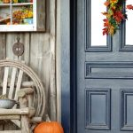 front door porch autumn wooden chair