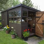 garden shed door open flowers