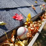 gutters full of leaves and a baseball