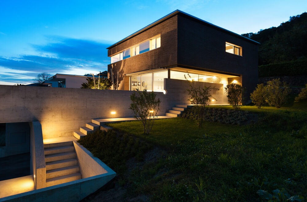 modernist home night stairs lighting