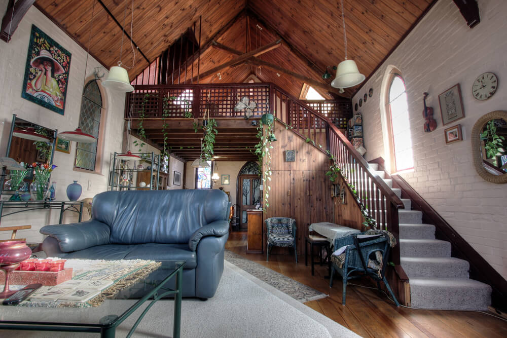 living room converted church