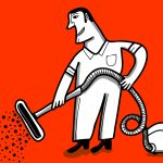 man using vacuum illustration