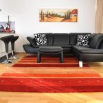 modern living room area rug red