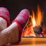 Fireplace and slippers