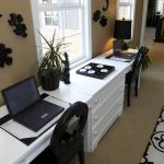 bright home office two desks