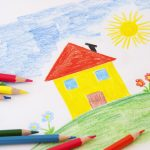 house flowers rainbow colored pencils childs drawing