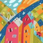 house neighborhood colorful roads illustration
