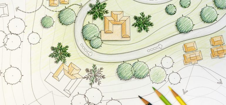 landscaping plan drawing colored pencils