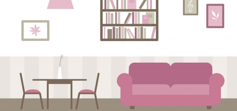 living room dining room small space illustration