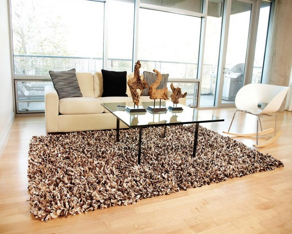 Yanchi Area Rugs - Recycled Paper Shag Area Rug