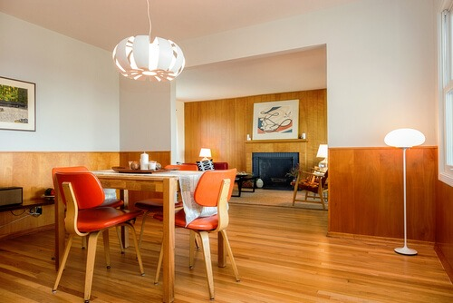 mid-century modern dining room with table