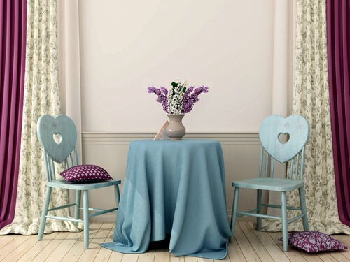 romantic table blue purple heart shaped chairs lavender