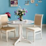 round bistro table and chairs blue white