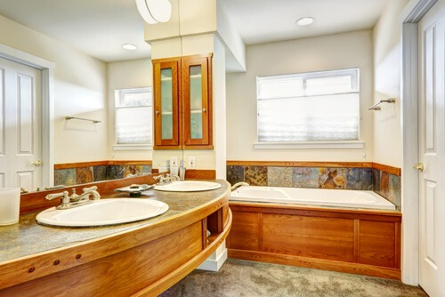 bathroom wood paneling tile