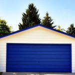 detached garage blue door