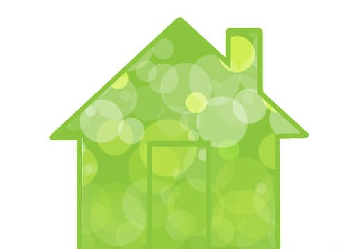 green eco friendly house grass illustration