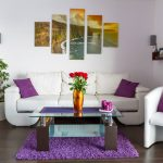living room bold colors red purple orange white