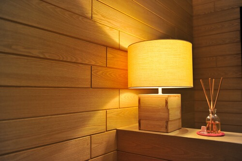 lamp wood panelling warm light