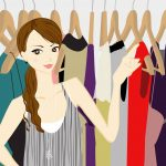 woman with clothing rack illustration