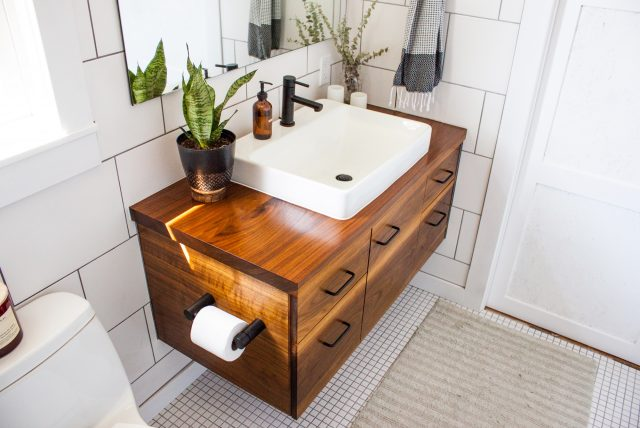 wood bathroom vanity
