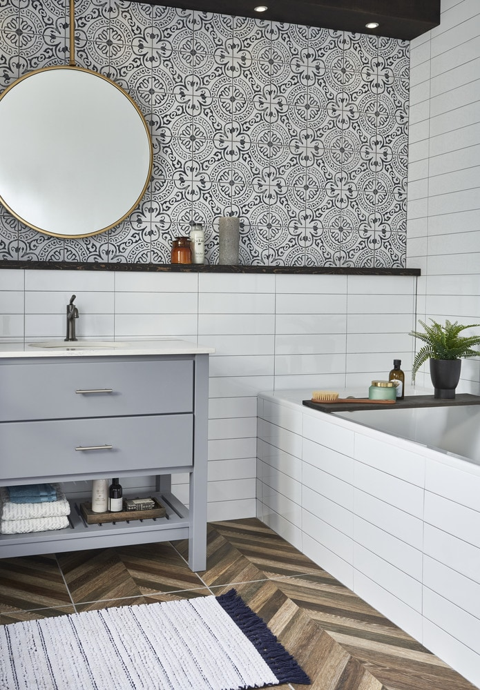 bathroom tile accent wall porcelain