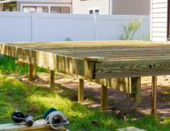 Deck construction work in garden with some torx circular saw