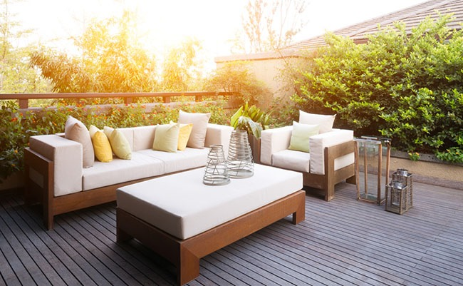 backyard furniture set on wooden deck