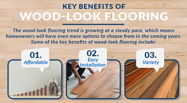 key benefits of wood looking flooring graphic