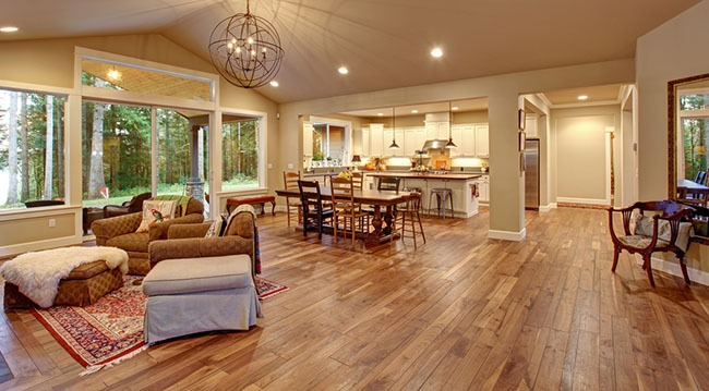 living room interior with wooden flooring