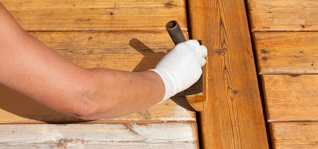 staining wooden planks