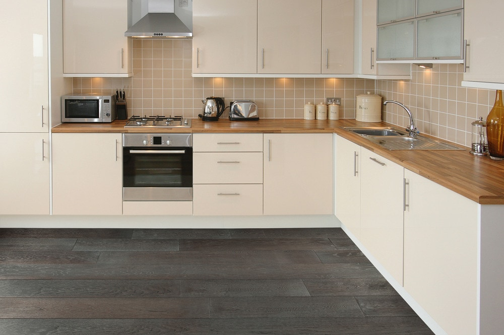 gray flooring kitchen