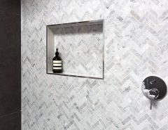 herringbone tile wall