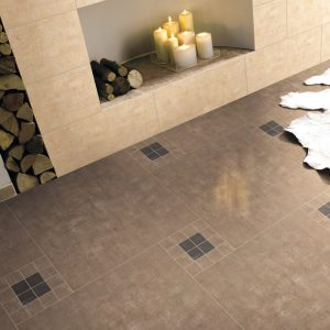 Enjoy the fashionable look of stained concrete floors with the durability of porcelain.