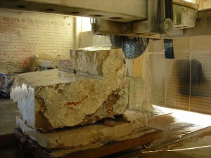 Travertine Being Processed Into Tile