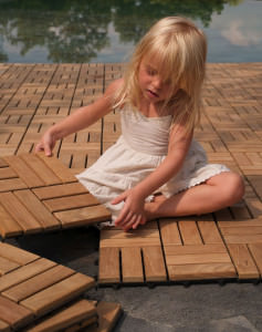girl playing on deck