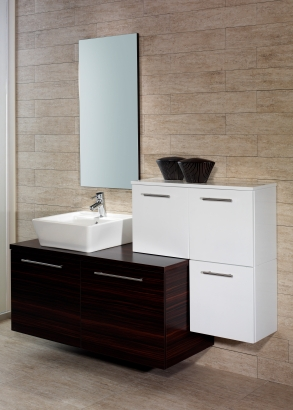 wood grain porcelain tile for floors and walls in the bathroom