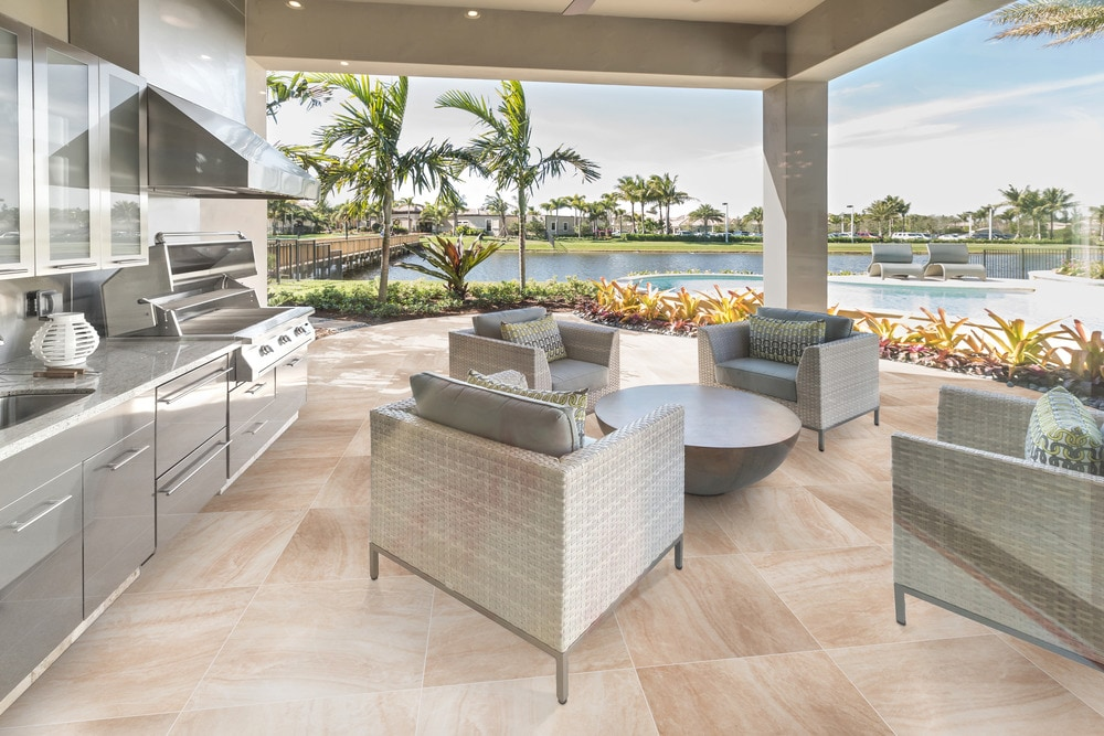 Featuring Cabot Porcelain Til𝚎 Pavers Seaside Marble Series in Carrara