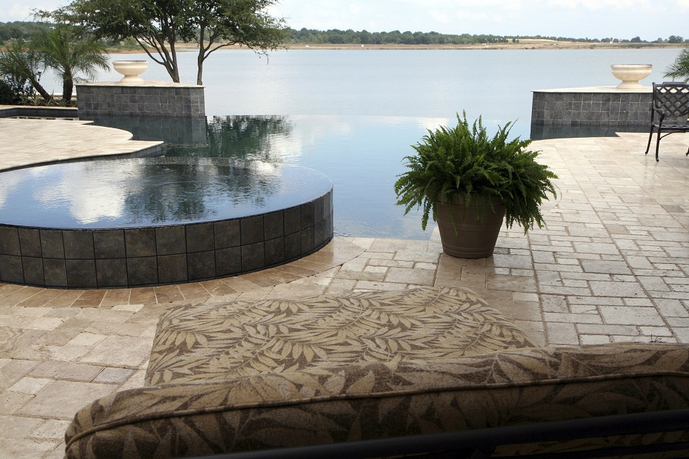 Travertine Pavers in Luxury Backyard Landscape