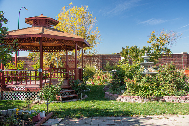 gazebo in a backyard